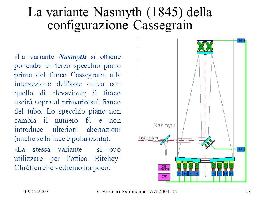 09/05/2005C.Barbieri Astronomia I AA 2004-0525 La variante Nasmyth (1845) della configurazione Cassegrain n La variante Nasmyth si ottiene ponendo un terzo specchio piano prima del fuoco Cassegrain, alla intersezione dell asse ottico con quello di elevazione; il fuoco uscirà sopra al primario sul fianco del tubo.