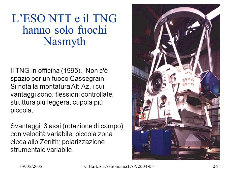 09/05/2005C.Barbieri Astronomia I AA 2004-0526 L'ESO NTT e il TNG hanno solo fuochi Nasmyth Il TNG in officina (1995).