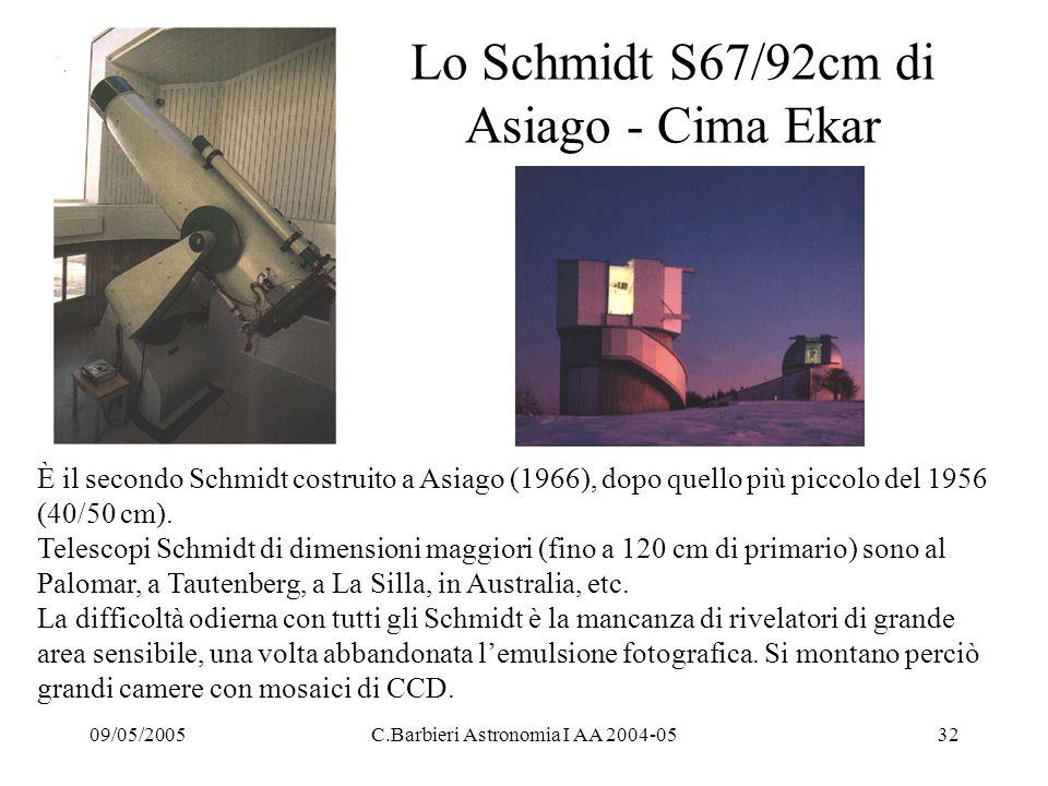 09/05/2005C.Barbieri Astronomia I AA 2004-0532 Lo Schmidt S67/92cm di Asiago - Cima Ekar È il secondo Schmidt costruito a Asiago (1966), dopo quello più piccolo del 1956 (40/50 cm).