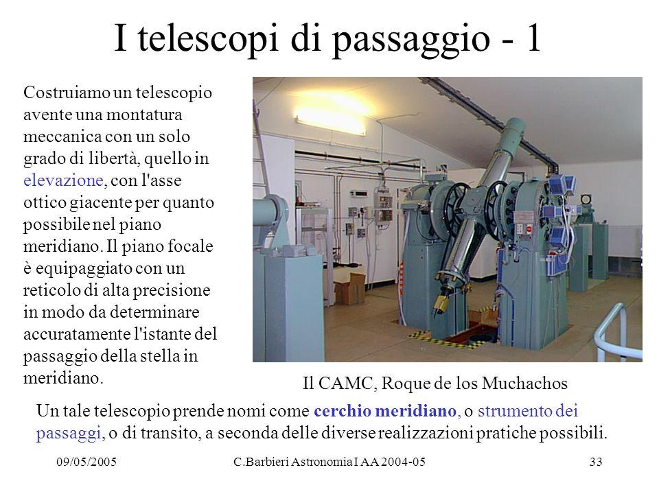 09/05/2005C.Barbieri Astronomia I AA 2004-0533 I telescopi di passaggio - 1 Costruiamo un telescopio avente una montatura meccanica con un solo grado di libertà, quello in elevazione, con l asse ottico giacente per quanto possibile nel piano meridiano.