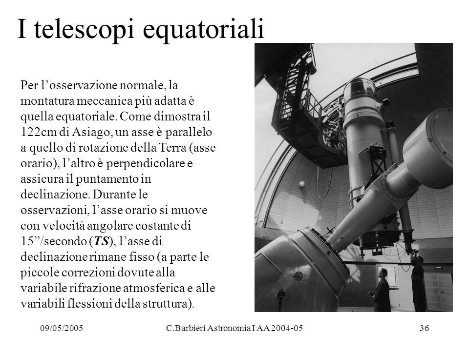 09/05/2005C.Barbieri Astronomia I AA 2004-0536 I telescopi equatoriali Per l'osservazione normale, la montatura meccanica più adatta è quella equatoriale.