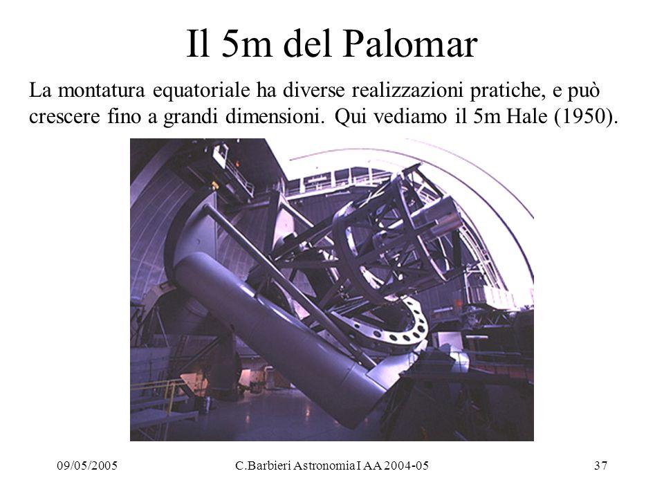 09/05/2005C.Barbieri Astronomia I AA 2004-0537 Il 5m del Palomar La montatura equatoriale ha diverse realizzazioni pratiche, e può crescere fino a grandi dimensioni.