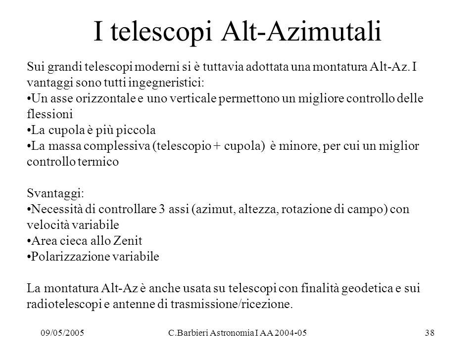09/05/2005C.Barbieri Astronomia I AA 2004-0538 I telescopi Alt-Azimutali Sui grandi telescopi moderni si è tuttavia adottata una montatura Alt-Az.