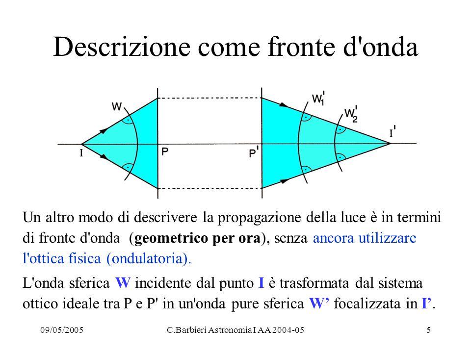 09/05/2005C.Barbieri Astronomia I AA 2004-056 La teoria di Gauss (1841) -1 Al primo ordine si puo ricorrere a un insieme di ipotesi semplificative: Superficie sferiche di rivoluzione: z = cy 2 Legge di Snell linearizzata: n sin  = n sen   n  = n  Dati una lente, o uno specchio sferico concavo, di raggio R = D/2 e vertice V, i raggi provenienti dall infinito (tutti i corpi celesti) e paralleli all asse ottico convergono nel fuoco F.
