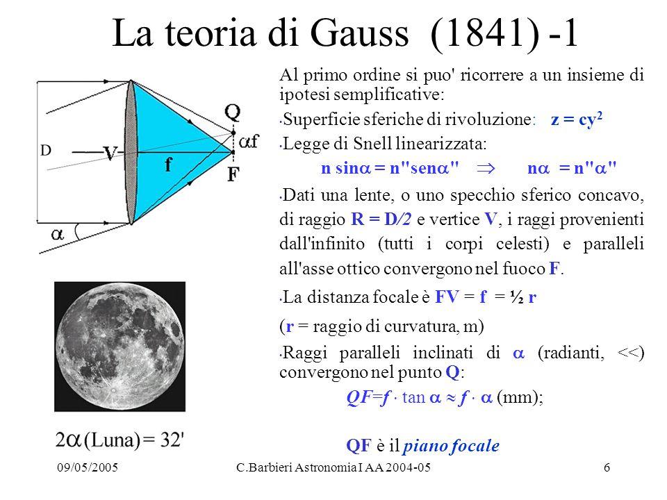 09/05/2005C.Barbieri Astronomia I AA 2004-0527 Oltre la soluzione Cassegrain: la configurazione Ritchey-Chrétien Per minimizzare le aberrazioni della configurazione Cassegrain molti telescopi hanno adottato una soluzione ottica già suggerita da Ritchey e Chrétien nel 1920: n le eccentricità e 1, e 2 dei due specchi sono parametri liberi n la forma paraboloidale del primario viene modificata aprendo la superficie verso un iperboloide n la combinazione di due superficie iperboloidali produce un fuoco Ritchey -Chrétien privo di aberrazione sferica, coma e astigmatismo su un buon campo di vista, anche se la superficie focale diviene concava verso la luce incidente (si può mettere un a lente spianatrice di campo, facendo però attenzione al cromatismo) n si penalizza ovviamente anche il primo fuoco, che richiederà un opportuno correttore di aberrazione sferica.