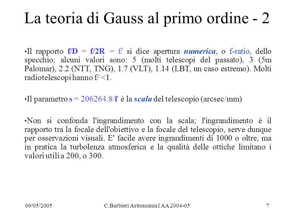 09/05/2005C.Barbieri Astronomia I AA 2004-057 La teoria di Gauss al primo ordine - 2 Il rapporto f/D = f/2R = f/ si dice apertura numerica, o f-ratio, dello specchio; alcuni valori sono: 5 (molti telescopi del passato), 3 (5m Palomar), 2.2 (NTT, TNG), 1.7 (VLT), 1.14 (LBT, un caso estremo).