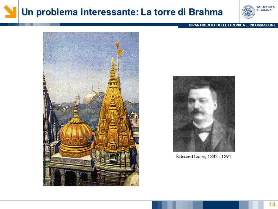 DIPARTIMENTO DI ELETTRONICA E INFORMAZIONE Un problema interessante: La torre di Brahma 14