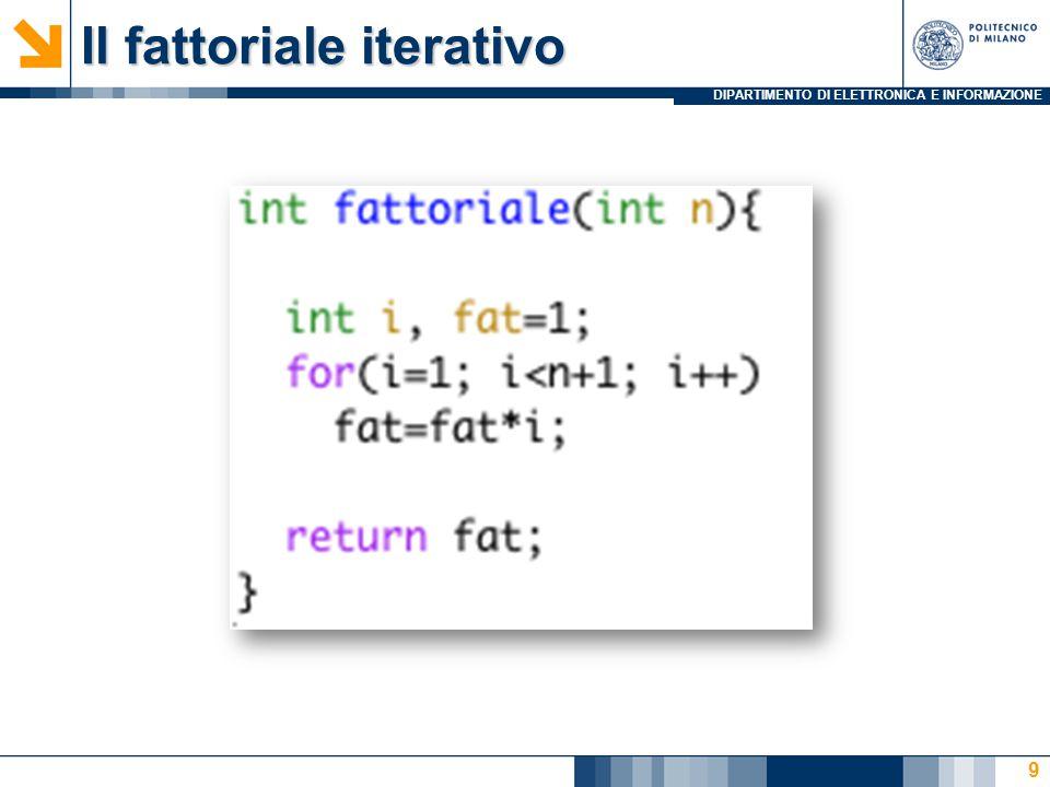 DIPARTIMENTO DI ELETTRONICA E INFORMAZIONE n = 3 main fat= FattRic(3) fat= FattRic(2) fat= FattRic(1) fat= FattRic(0) La ricorsione come strumento di programmazione Calcolo del Fattoriale in modo ricorsivo: 1 1 2 6 Fact(n)=n*Fact(n-1) Fact(0)=1 10