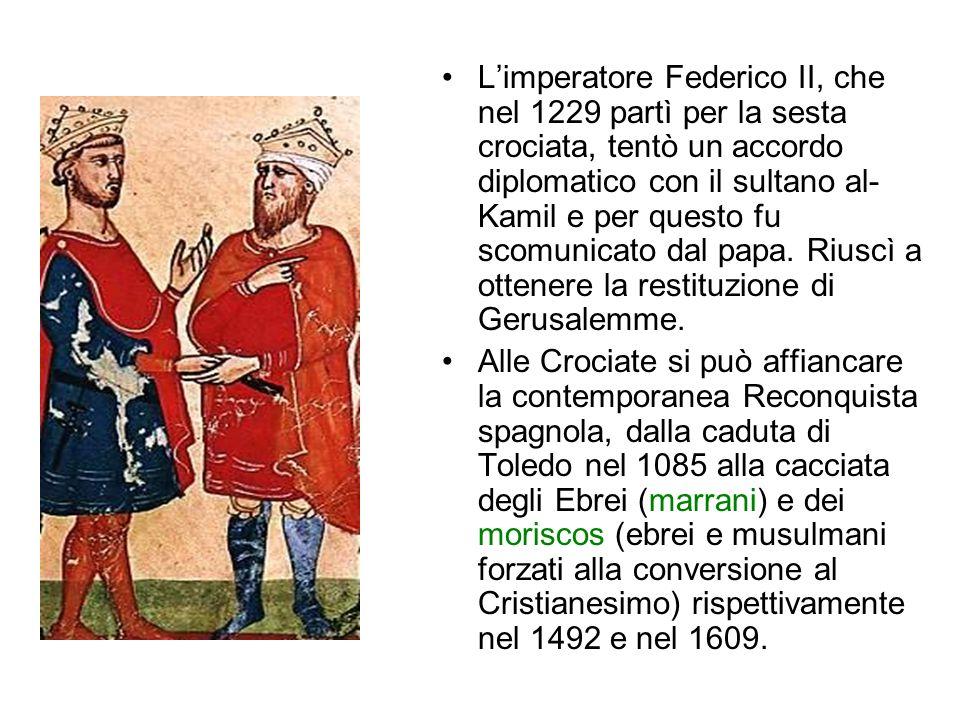 Le Crociate La prima Crociata partì dopo l'editto di Clermont nel 1095 (papa Urbano II) per la liberazione dei Luoghi Santi del Cristianesimo, in prim