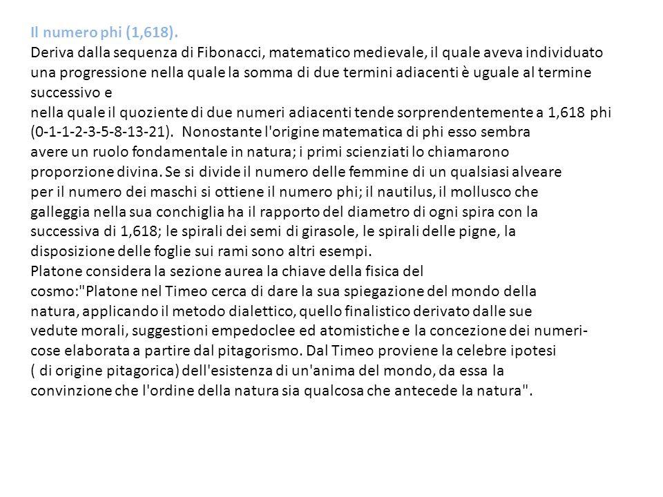 Il numero phi (1,618). Deriva dalla sequenza di Fibonacci, matematico medievale, il quale aveva individuato una progressione nella quale la somma di d