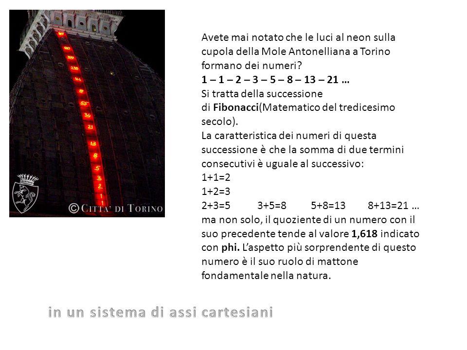 Avete mai notato che le luci al neon sulla cupola della Mole Antonelliana a Torino formano dei numeri? 1 – 1 – 2 – 3 – 5 – 8 – 13 – 21 … Si tratta del