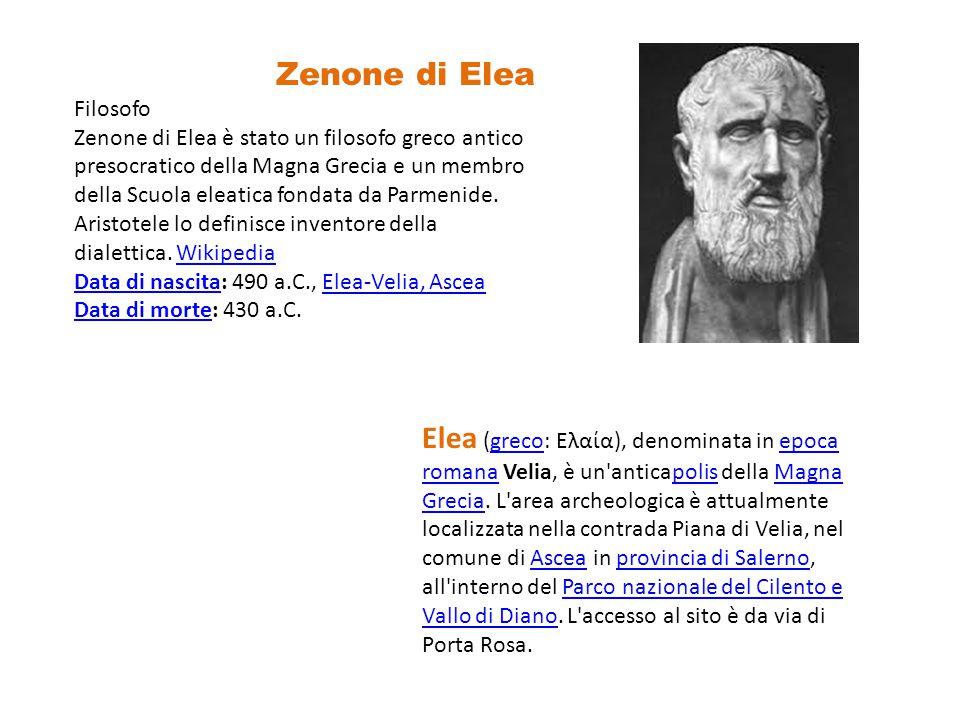 Zenone di Elea Filosofo Zenone di Elea è stato un filosofo greco antico presocratico della Magna Grecia e un membro della Scuola eleatica fondata da Parmenide.