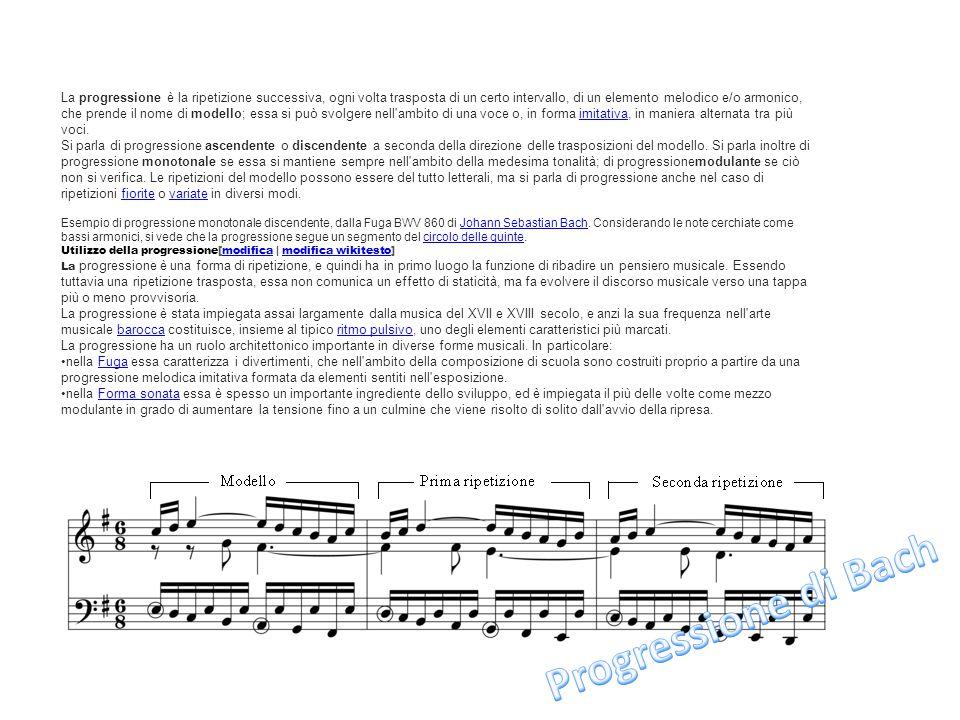 La progressione è la ripetizione successiva, ogni volta trasposta di un certo intervallo, di un elemento melodico e/o armonico, che prende il nome di