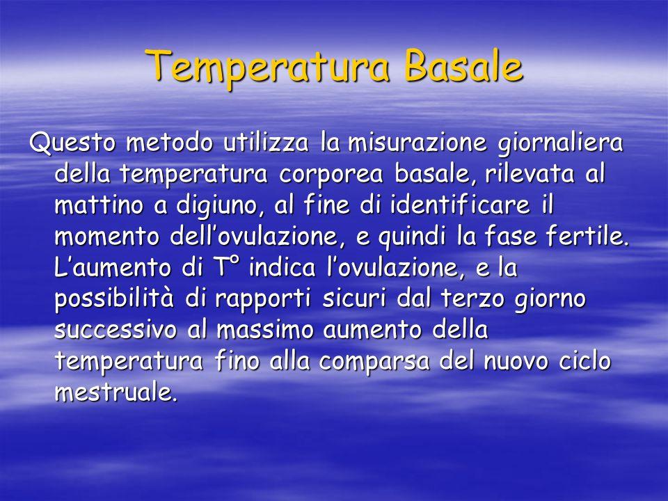 Temperatura Basale Questo metodo utilizza la misurazione giornaliera della temperatura corporea basale, rilevata al mattino a digiuno, al fine di identificare il momento dell'ovulazione, e quindi la fase fertile.