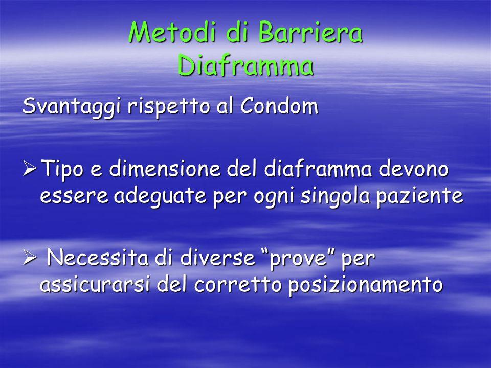 Metodi di Barriera Diaframma Svantaggi rispetto al Condom  Tipo e dimensione del diaframma devono essere adeguate per ogni singola paziente  Necessita di diverse prove per assicurarsi del corretto posizionamento