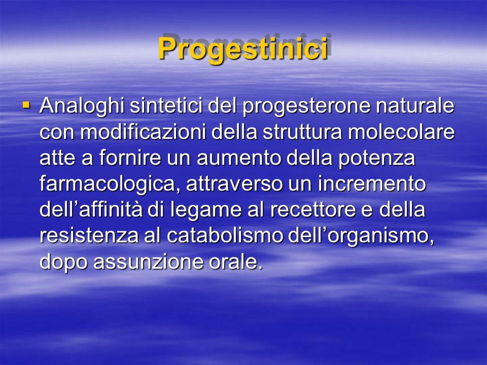 ProgestiniciProgestinici  Analoghi sintetici del progesterone naturale con modificazioni della struttura molecolare atte a fornire un aumento della p