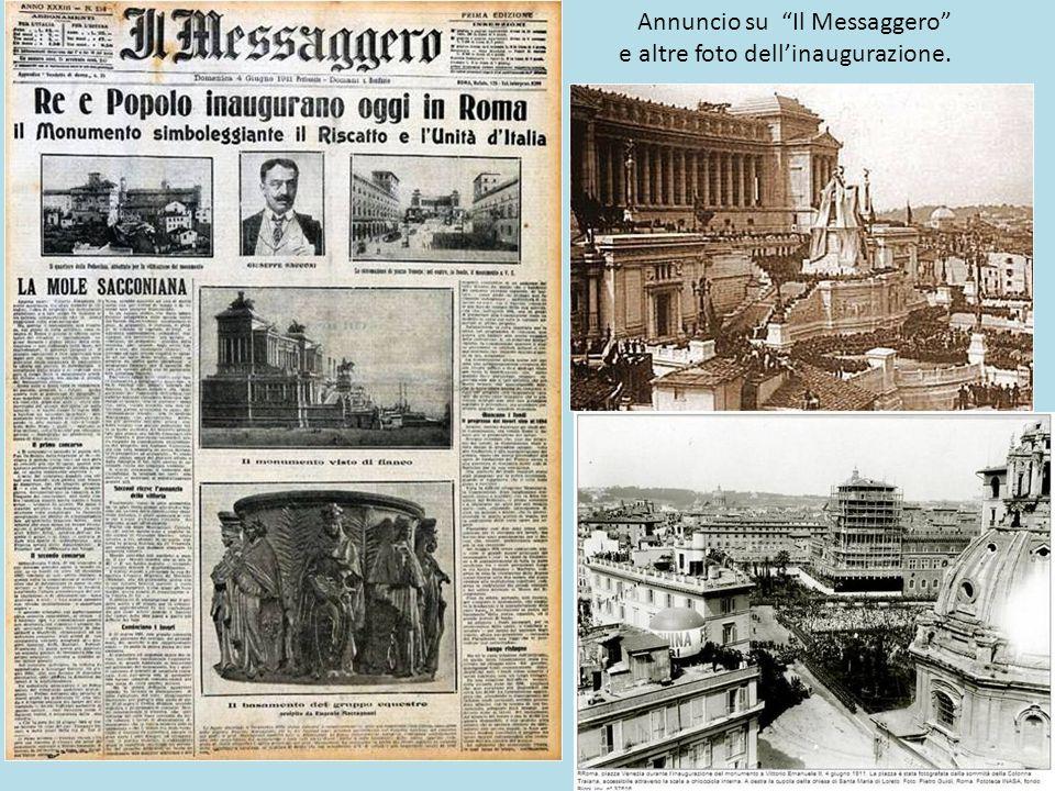 4 Giugno 1911, Il Vittoriano, inaugurato da Vittorio Emanuele III, al culmine dell'Esposizione Internazionale per i 50 anni dell'Unità d'Italia.