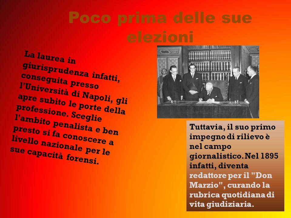 Poco prima delle sue elezioni La laurea in giurisprudenza infatti, conseguita presso l Università di Napoli, gli apre subito le porte della professione.
