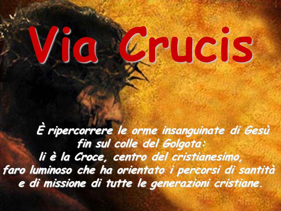 È ripercorrere le orme insanguinate di Gesù fin sul colle del Golgota: li è la Croce, centro del cristianesimo, faro luminoso che ha orientato i perco