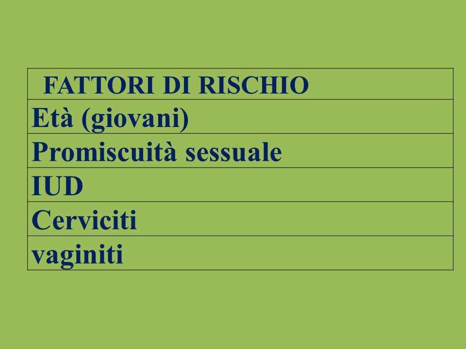 FATTORI DI RISCHIO Età (giovani) Promiscuità sessuale IUD Cerviciti vaginiti