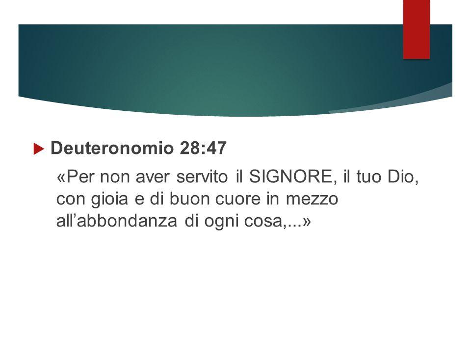  Deuteronomio 28:47 «Per non aver servito il SIGNORE, il tuo Dio, con gioia e di buon cuore in mezzo all'abbondanza di ogni cosa,...»