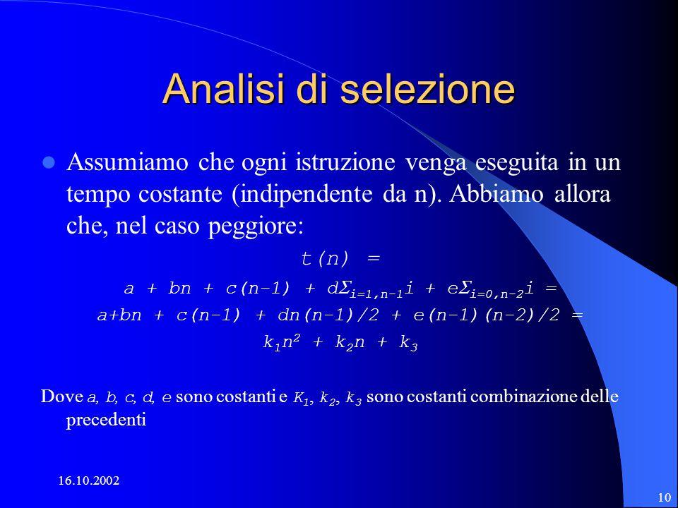 16.10.2002 10 Analisi di selezione Assumiamo che ogni istruzione venga eseguita in un tempo costante (indipendente da n).