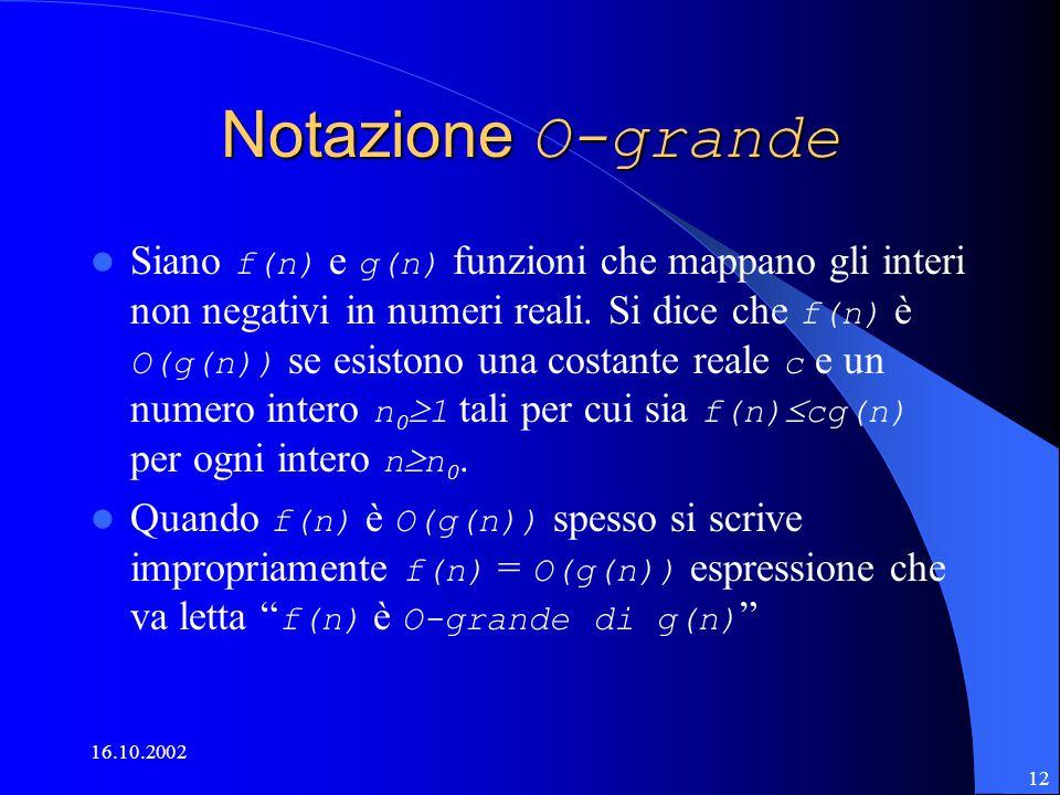 16.10.2002 12 Notazione O-grande Siano f(n) e g(n) funzioni che mappano gli interi non negativi in numeri reali.