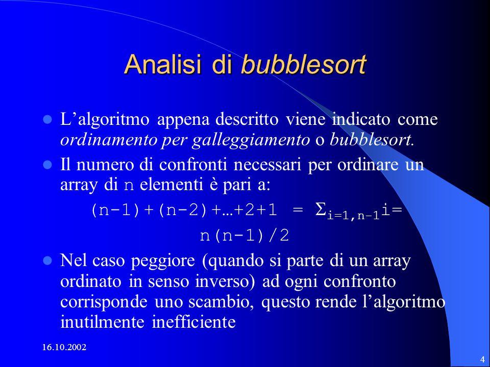 16.10.2002 4 Analisi di bubblesort L'algoritmo appena descritto viene indicato come ordinamento per galleggiamento o bubblesort.