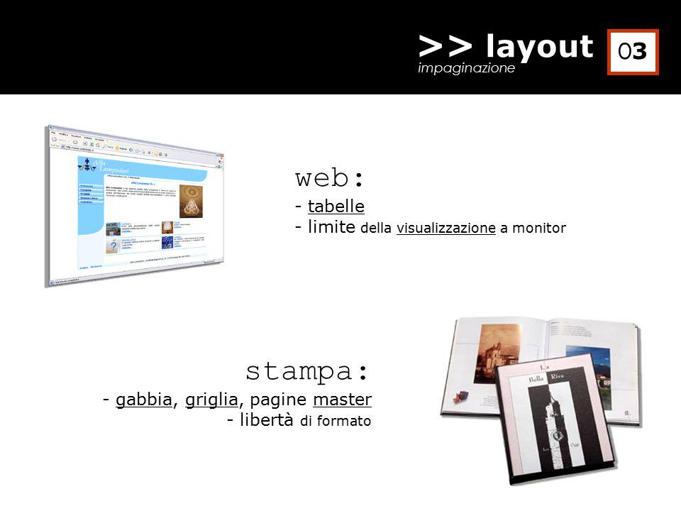 >> layout impaginazione web: - tabelle - limite della visualizzazione a monitor stampa: - gabbia, griglia, pagine master - libertà di formato O3O3