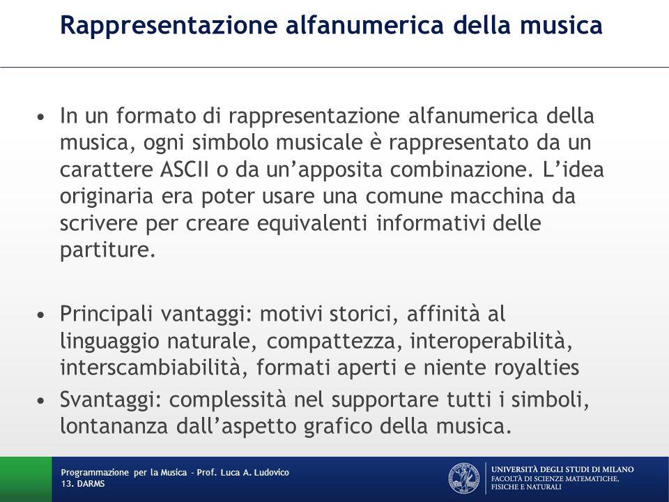 Rappresentazione alfanumerica della musica In un formato di rappresentazione alfanumerica della musica, ogni simbolo musicale è rappresentato da un ca