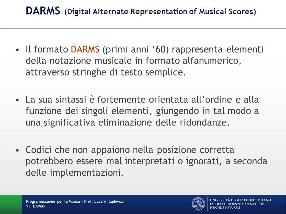 DARMS (Digital Alternate Representation of Musical Scores) Il formato DARMS (primi anni '60) rappresenta elementi della notazione musicale in formato
