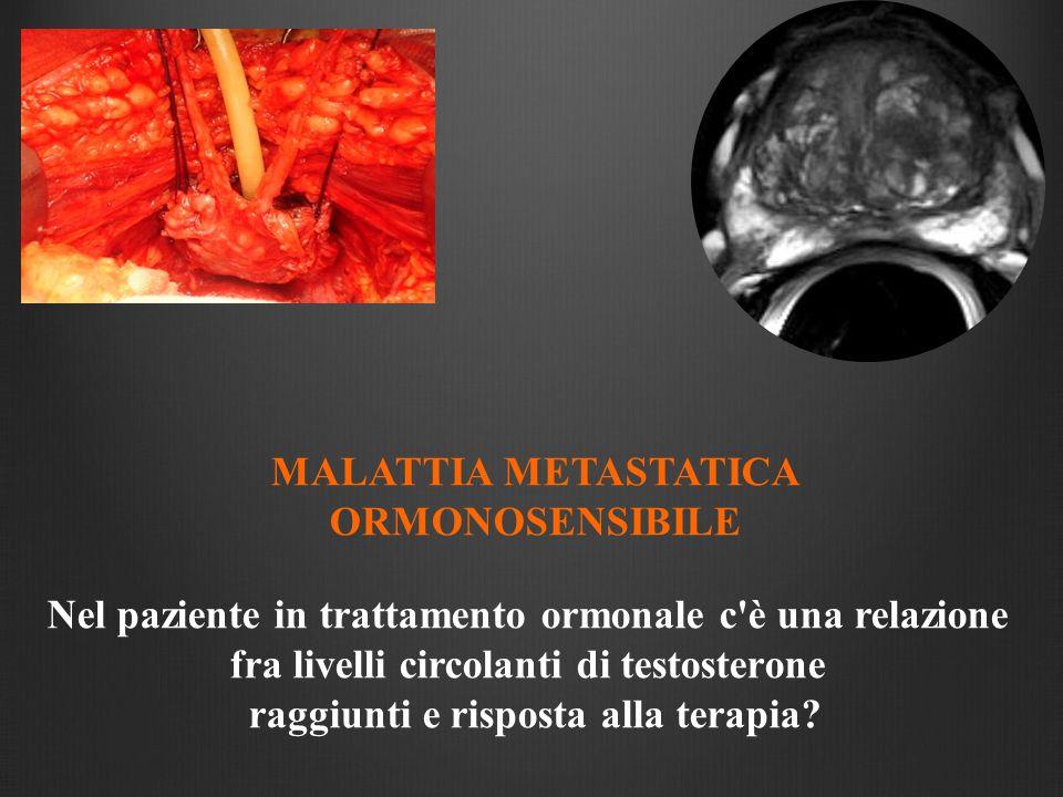 MALATTIA METASTATICA ORMONOSENSIBILE Nel paziente in trattamento ormonale c'è una relazione fra livelli circolanti di testosterone raggiunti e rispost