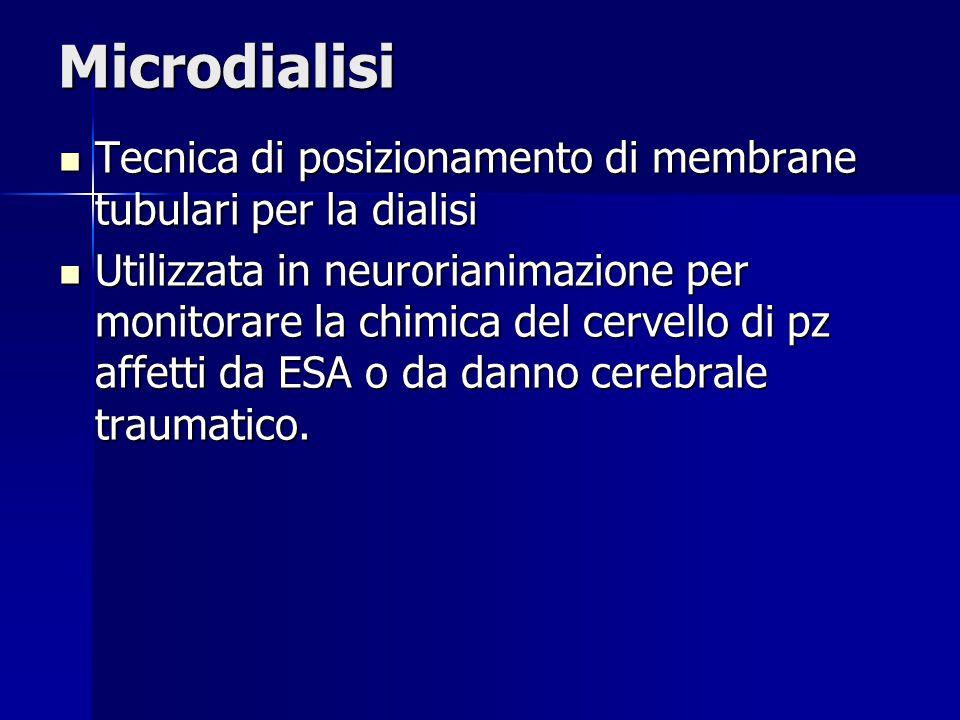 Microdialisi Tecnica di posizionamento di membrane tubulari per la dialisi Tecnica di posizionamento di membrane tubulari per la dialisi Utilizzata in