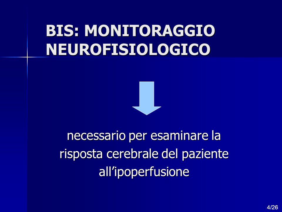 BIS: MONITORAGGIO NEUROFISIOLOGICO necessario per esaminare la risposta cerebrale del paziente all'ipoperfusione 4/26