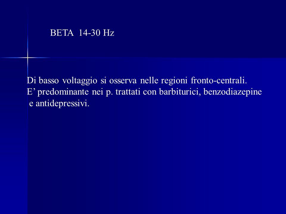 BETA 14-30 Hz Di basso voltaggio si osserva nelle regioni fronto-centrali.