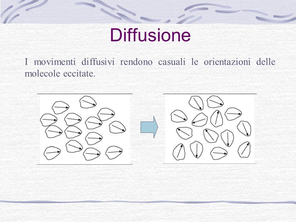 Anisotropia dell'emissione Misurando la polarizzazione della luce emessa si determina la rapidità dei movimenti diffusivi (rispetto al tempo di vita di fluorescenza).