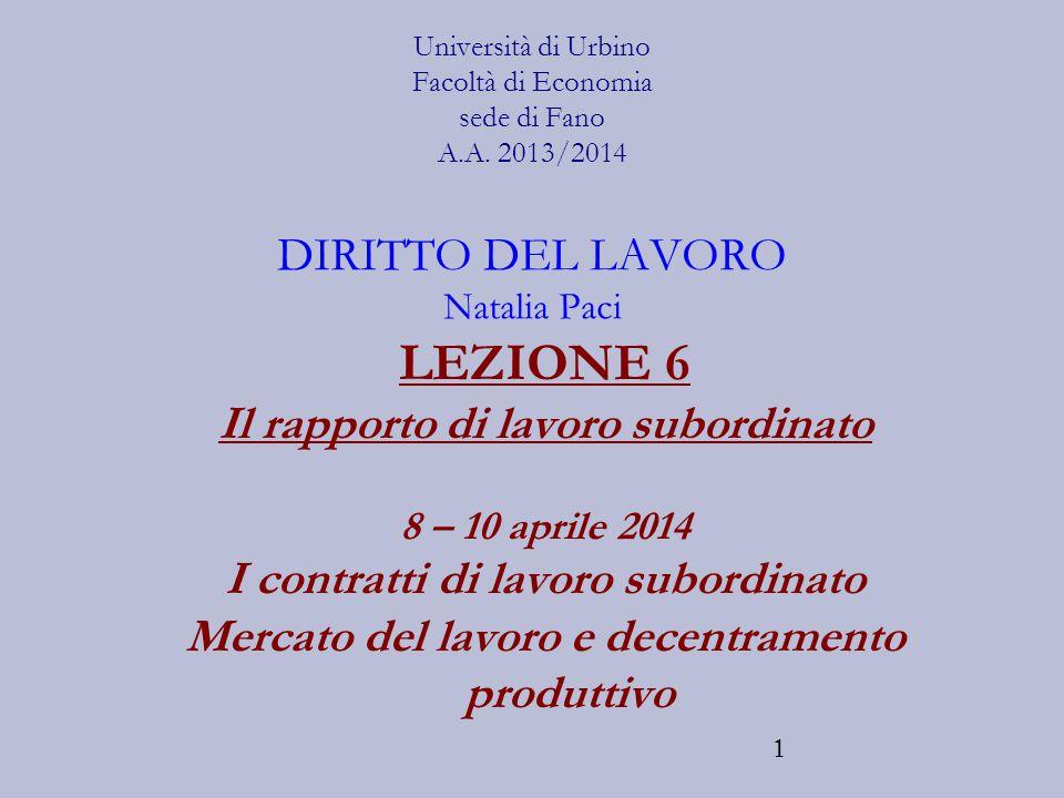 1 Università di Urbino Facoltà di Economia sede di Fano A.A. 2013/2014 DIRITTO DEL LAVORO Natalia Paci LEZIONE 6 Il rapporto di lavoro subordinato 8 –