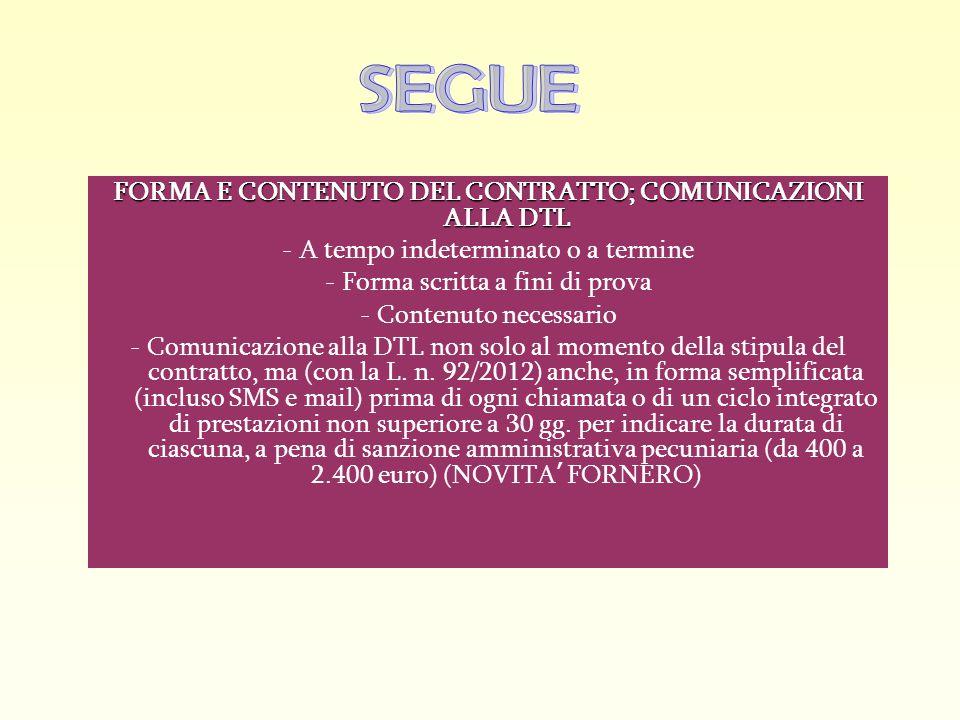 FORMA E CONTENUTO DEL CONTRATTO; COMUNICAZIONI ALLA DTL - A tempo indeterminato o a termine - Forma scritta a fini di prova - Contenuto necessario - C