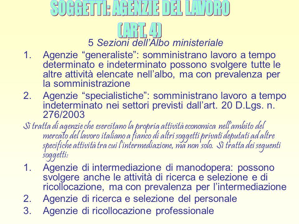 """5 Sezioni dell'Albo ministeriale 1.Agenzie """"generaliste"""": somministrano lavoro a tempo determinato e indeterminato possono svolgere tutte le altre att"""