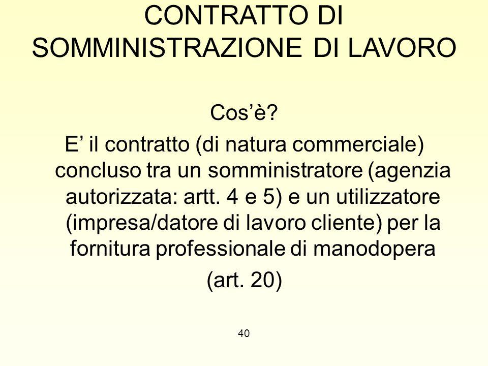 CONTRATTO DI SOMMINISTRAZIONE DI LAVORO Cos'è? E' il contratto (di natura commerciale) concluso tra un somministratore (agenzia autorizzata: artt. 4 e