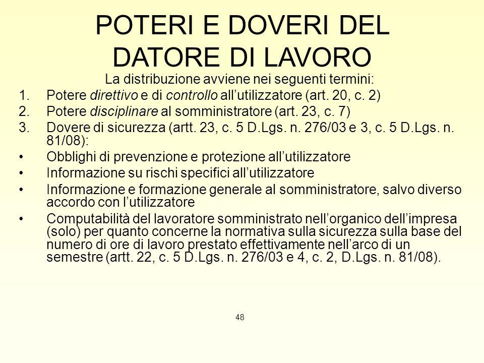 POTERI E DOVERI DEL DATORE DI LAVORO La distribuzione avviene nei seguenti termini: 1.Potere direttivo e di controllo all'utilizzatore (art. 20, c. 2)