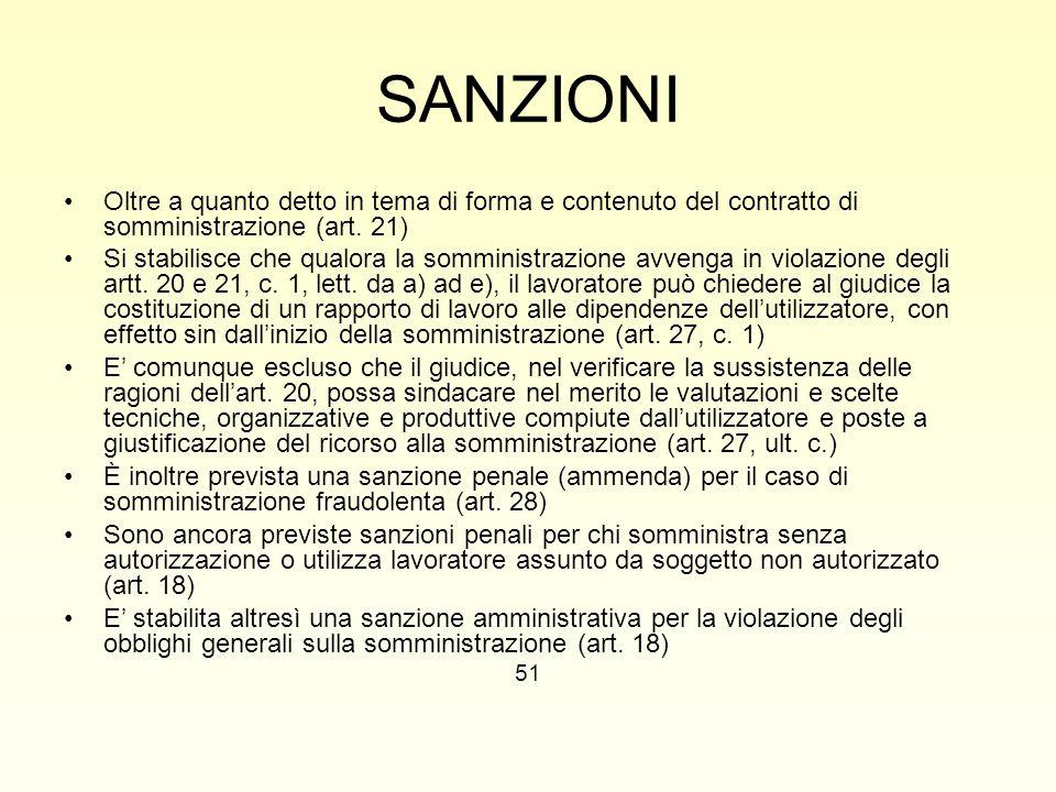 SANZIONI Oltre a quanto detto in tema di forma e contenuto del contratto di somministrazione (art. 21) Si stabilisce che qualora la somministrazione a