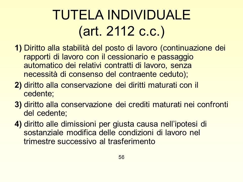 TUTELA INDIVIDUALE (art. 2112 c.c.) 1) Diritto alla stabilità del posto di lavoro (continuazione dei rapporti di lavoro con il cessionario e passaggio