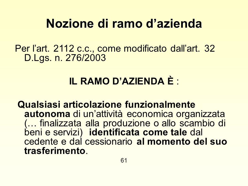 Nozione di ramo d'azienda Per l'art. 2112 c.c., come modificato dall'art. 32 D.Lgs. n. 276/2003 IL RAMO D'AZIENDA È : Qualsiasi articolazione funziona