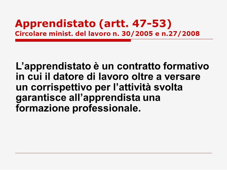 Apprendistato (artt. 47-53) Circolare minist. del lavoro n. 30/2005 e n.27/2008 L'apprendistato è un contratto formativo in cui il datore di lavoro ol