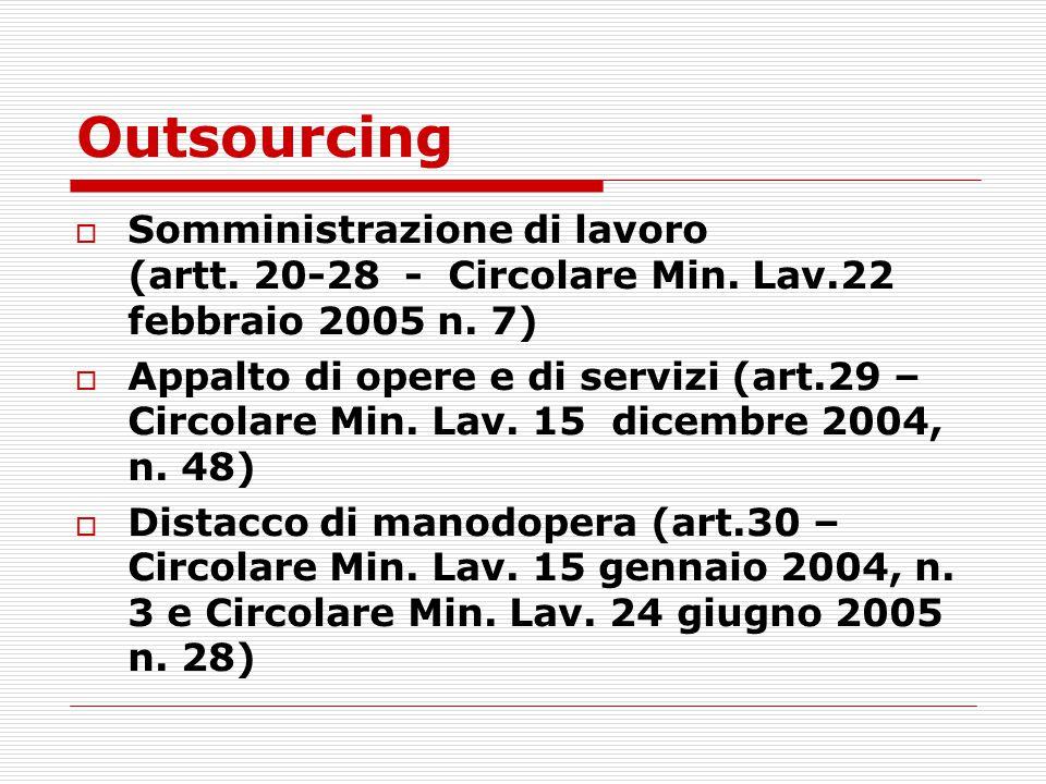 Outsourcing  Somministrazione di lavoro (artt. 20-28 - Circolare Min. Lav.22 febbraio 2005 n. 7)  Appalto di opere e di servizi (art.29 – Circolare