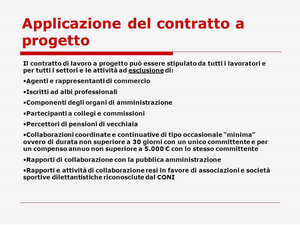 Applicazione del contratto a progetto Il contratto di lavoro a progetto può essere stipulato da tutti i lavoratori e per tutti i settori e le attività