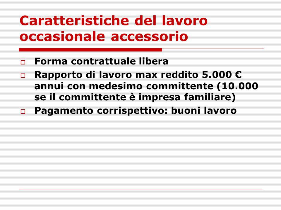 Caratteristiche del lavoro occasionale accessorio  Forma contrattuale libera  Rapporto di lavoro max reddito 5.000 € annui con medesimo committente