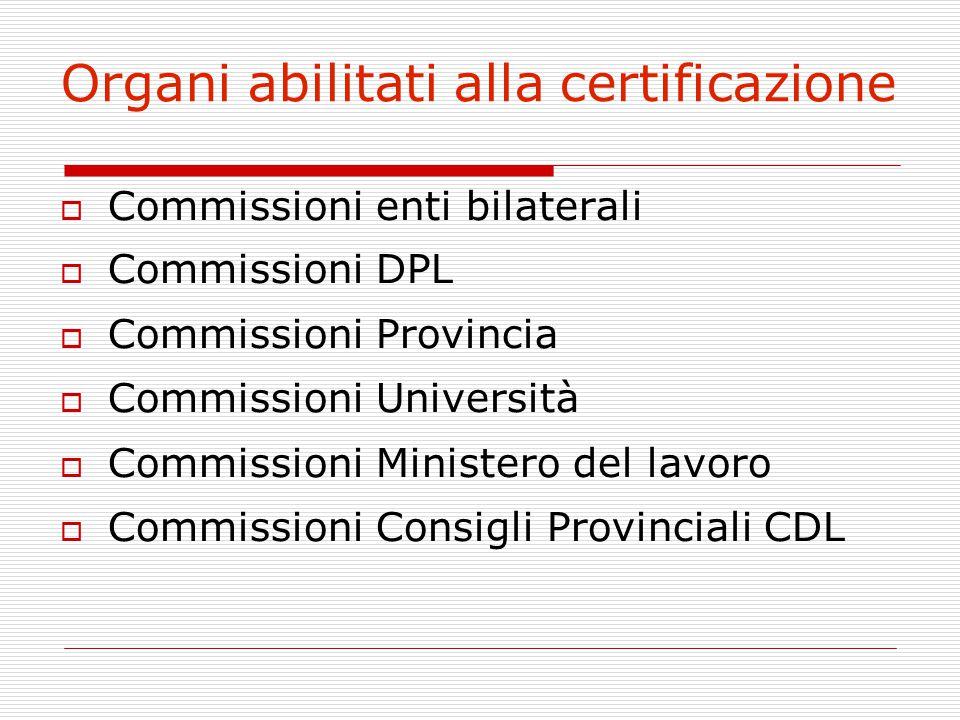 Organi abilitati alla certificazione  Commissioni enti bilaterali  Commissioni DPL  Commissioni Provincia  Commissioni Università  Commissioni Mi