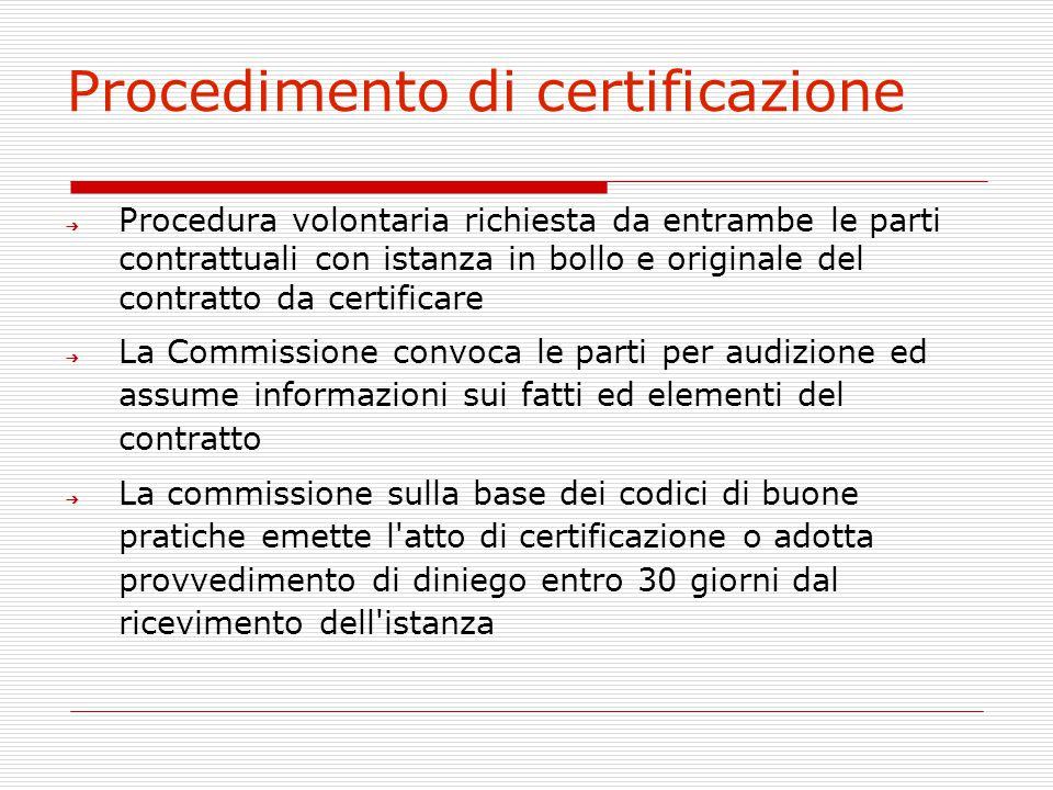Procedimento di certificazione ➔ Procedura volontaria richiesta da entrambe le parti contrattuali con istanza in bollo e originale del contratto da ce